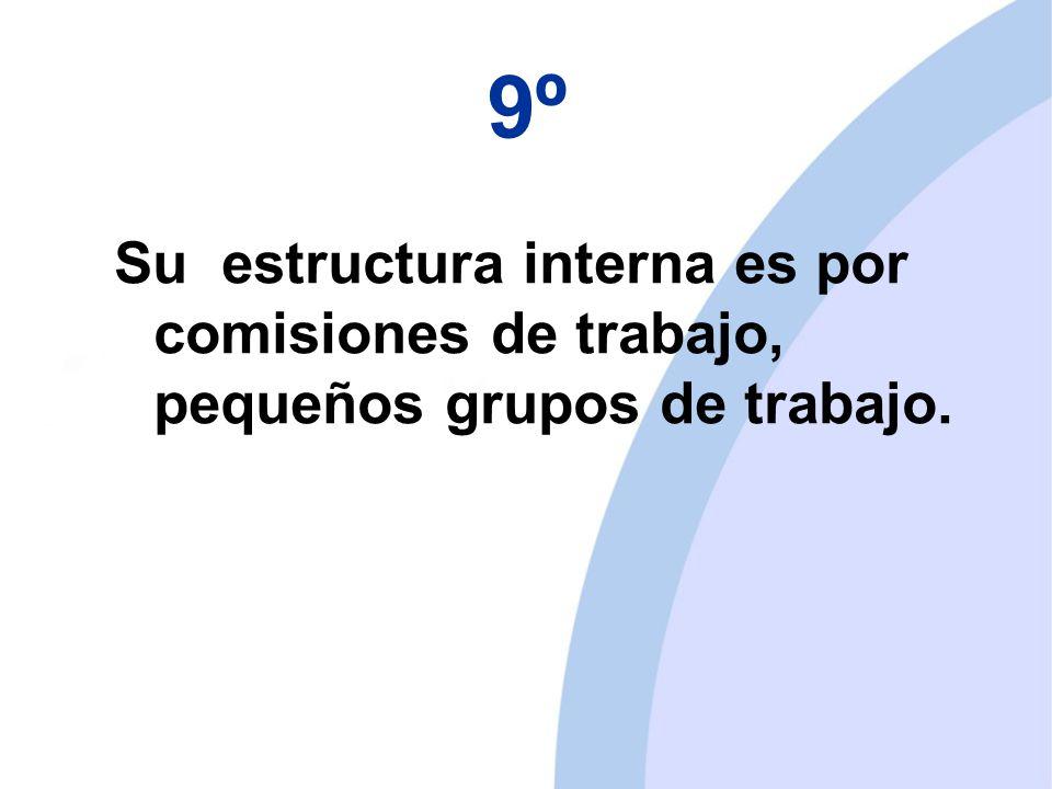 9º Su estructura interna es por comisiones de trabajo, pequeños grupos de trabajo.