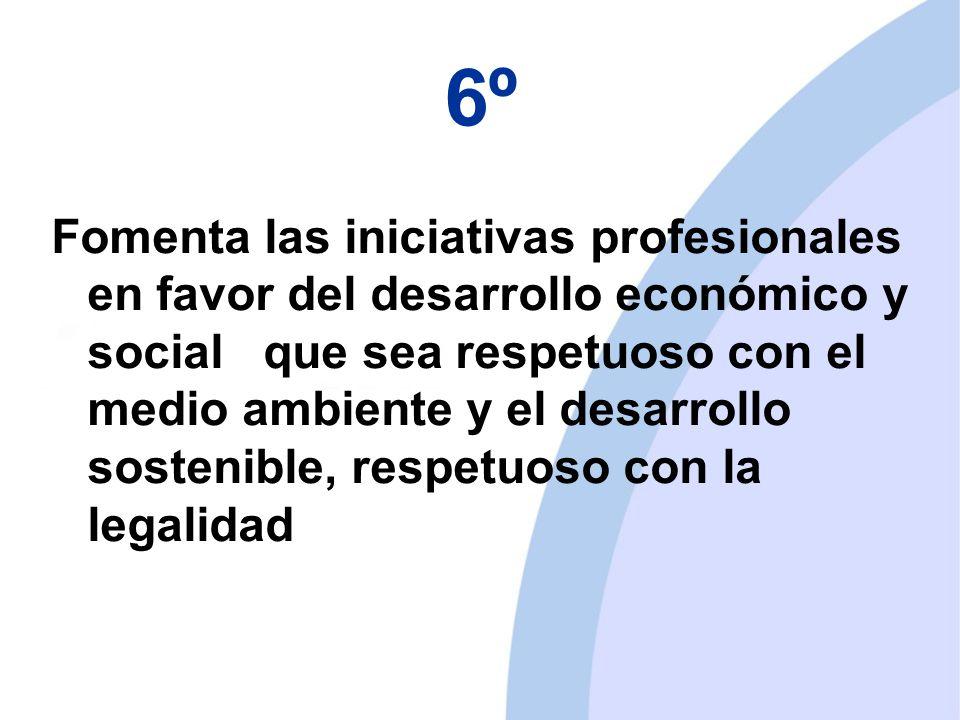 6º Fomenta las iniciativas profesionales en favor del desarrollo económico y social que sea respetuoso con el medio ambiente y el desarrollo sostenible, respetuoso con la legalidad