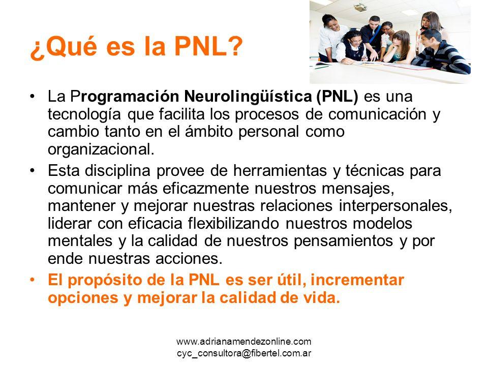 www.adrianamendezonline.com cyc_consultora@fibertel.com.ar ¿Qué es la PNL.