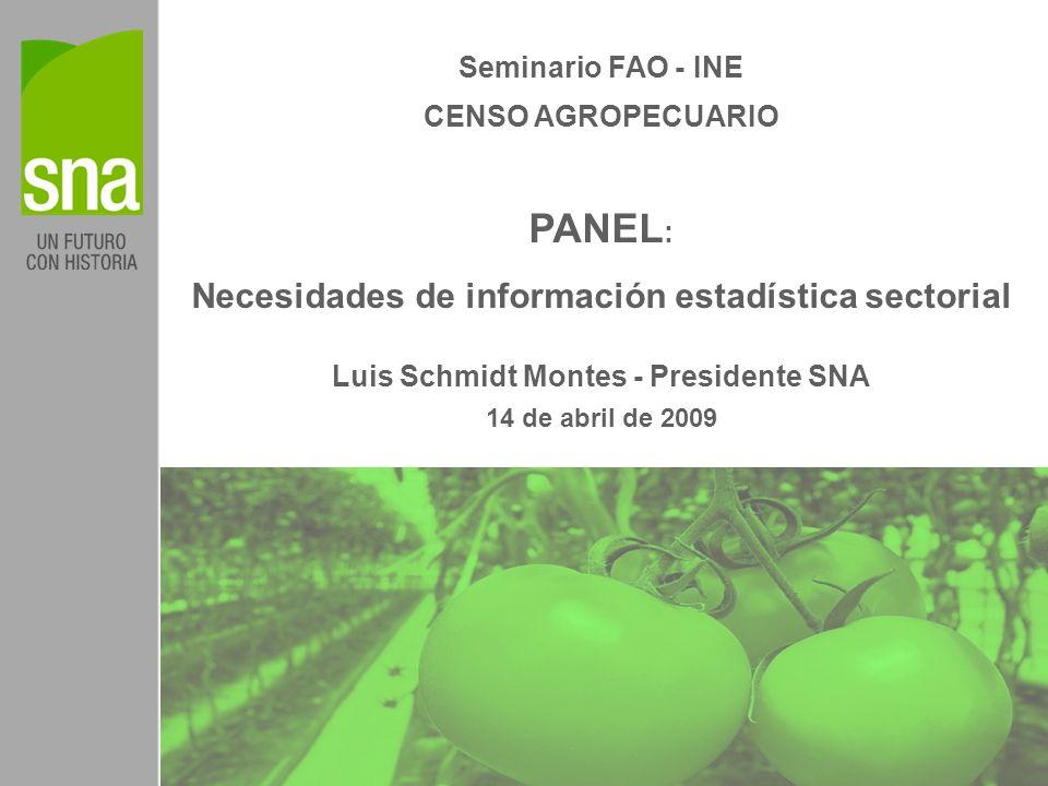 Seminario FAO - INE CENSO AGROPECUARIO PANEL : Necesidades de información estadística sectorial Luis Schmidt Montes - Presidente SNA 14 de abril de 2009