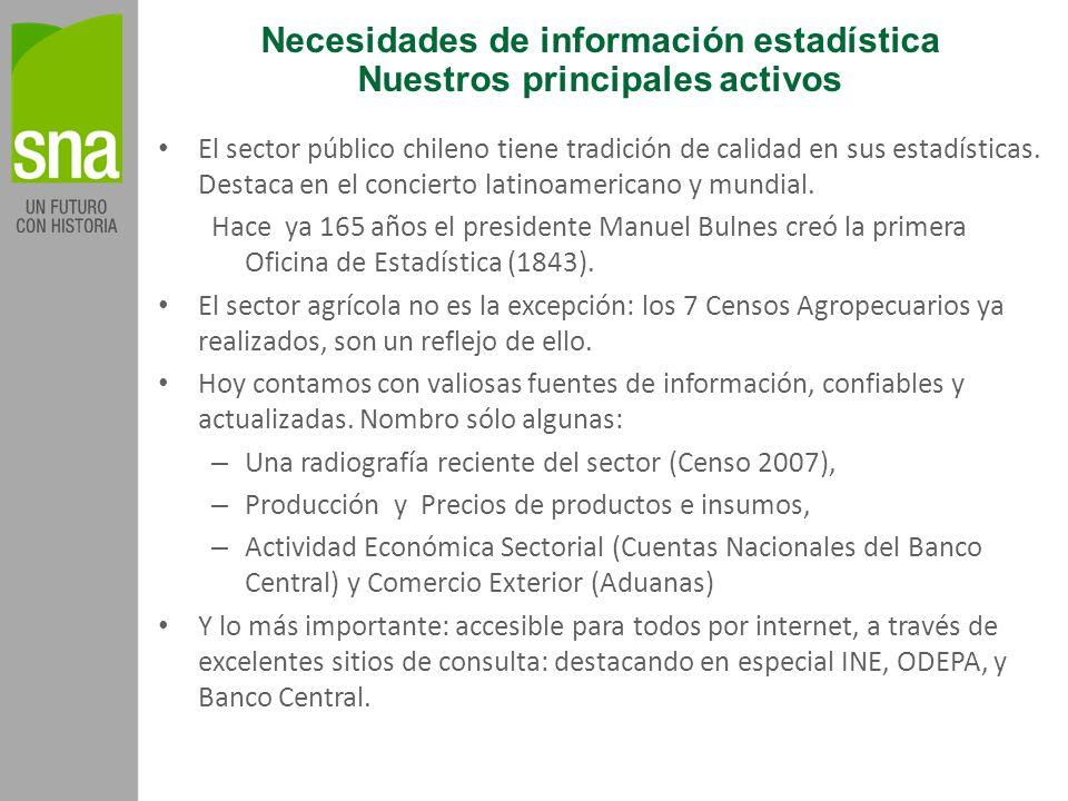 Necesidades de información estadística Nuestros principales activos El sector público chileno tiene tradición de calidad en sus estadísticas.