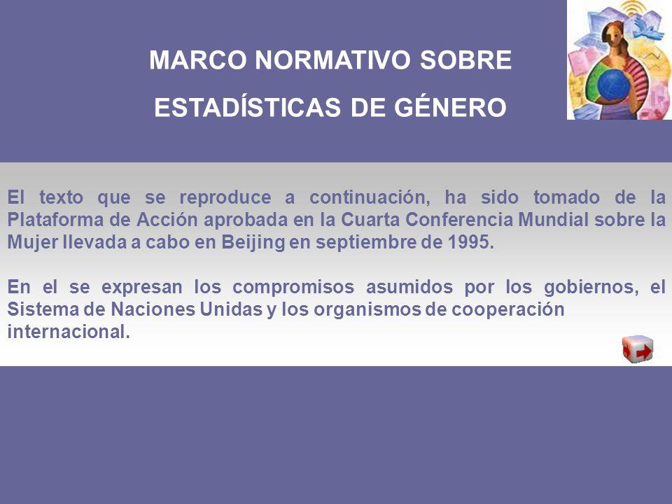 MARCO NORMATIVO SOBRE ESTADÍSTICAS DE GÉNERO El texto que se reproduce a continuación, ha sido tomado de la Plataforma de Acción aprobada en la Cuarta Conferencia Mundial sobre la Mujer llevada a cabo en Beijing en septiembre de 1995.