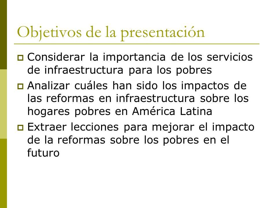 Objetivos de la presentación  Considerar la importancia de los servicios de infraestructura para los pobres  Analizar cuáles han sido los impactos de las reformas en infraestructura sobre los hogares pobres en América Latina  Extraer lecciones para mejorar el impacto de la reformas sobre los pobres en el futuro