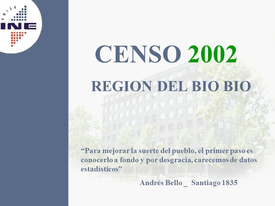 CENSO 2002 REGION DEL BIO BIO Para mejorar la suerte del pueblo, el primer paso es conocerlo a fondo y por desgracia, carecemos de datos estadísticos Andrés Bello _ Santiago 1835