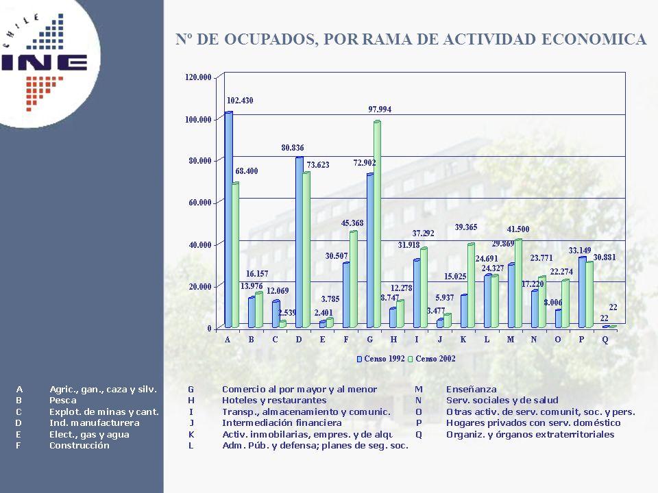 Nº DE OCUPADOS, POR RAMA DE ACTIVIDAD ECONOMICA