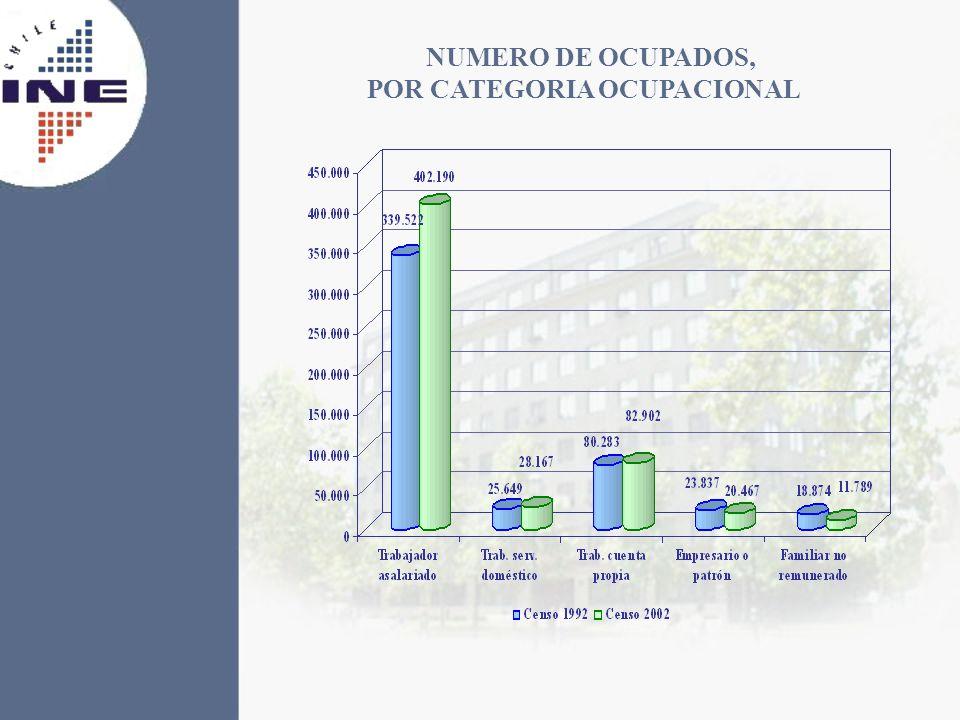 NUMERO DE OCUPADOS, POR CATEGORIA OCUPACIONAL