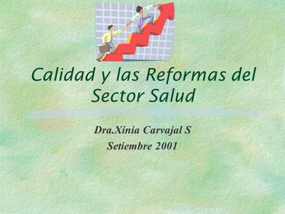 Calidad y las Reformas del Sector Salud Dra.Xinia Carvajal S Setiembre 2001