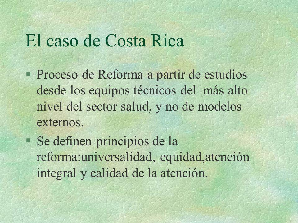 El caso de Costa Rica §Proceso de Reforma a partir de estudios desde los equipos técnicos del más alto nivel del sector salud, y no de modelos externos.