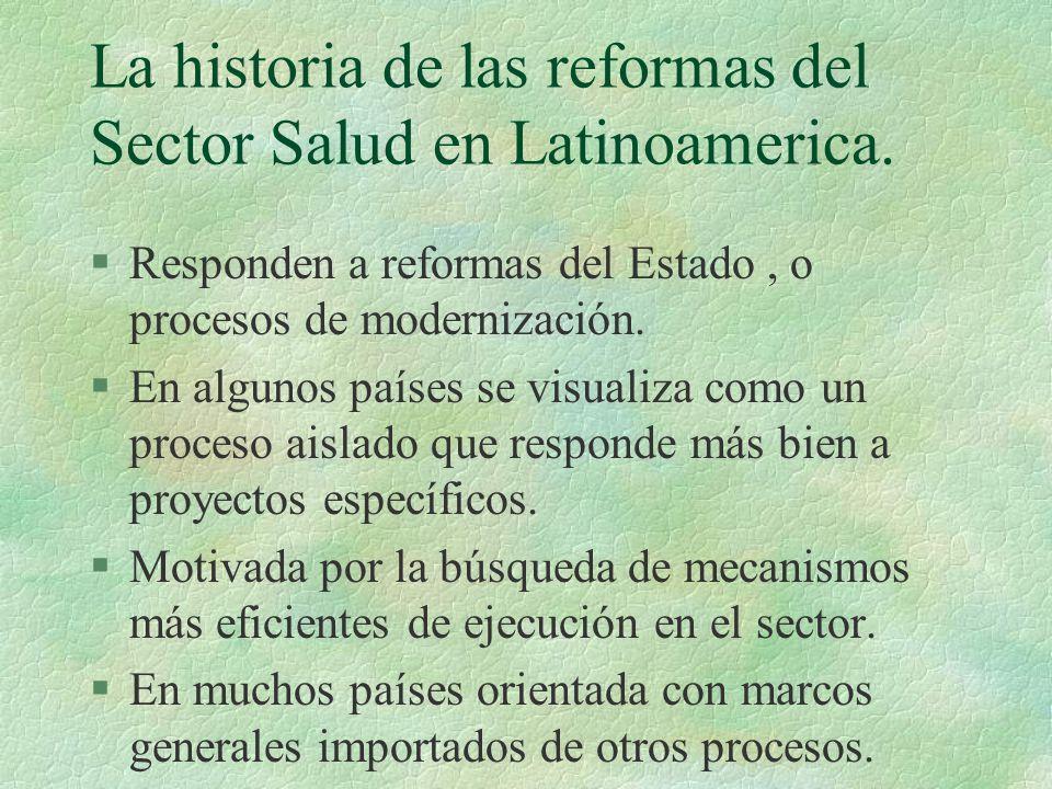 La historia de las reformas del Sector Salud en Latinoamerica.