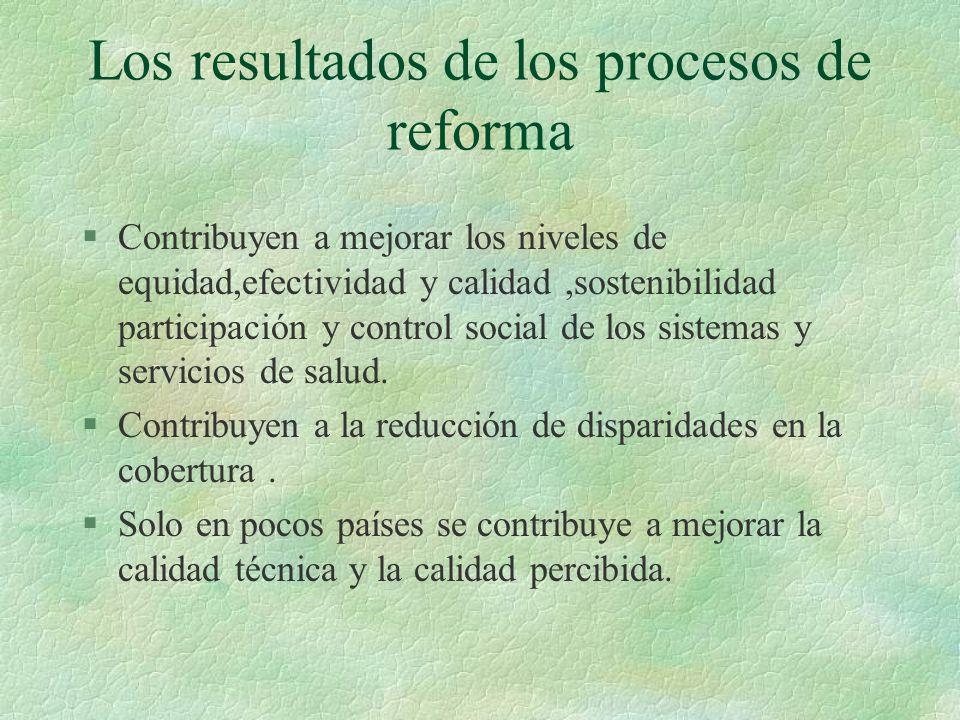 Los resultados de los procesos de reforma §Contribuyen a mejorar los niveles de equidad,efectividad y calidad,sostenibilidad participación y control social de los sistemas y servicios de salud.