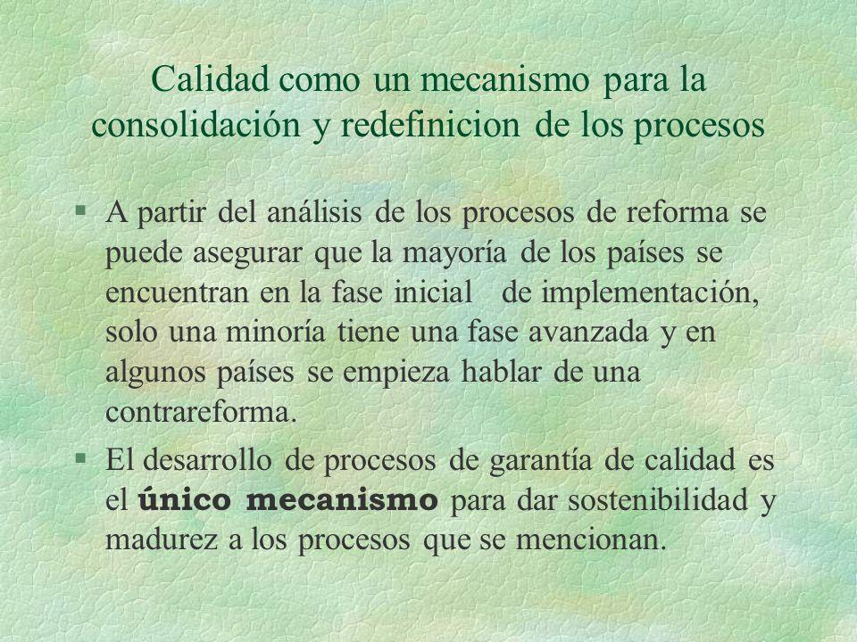 Calidad como un mecanismo para la consolidación y redefinicion de los procesos §A partir del análisis de los procesos de reforma se puede asegurar que la mayoría de los países se encuentran en la fase inicial de implementación, solo una minoría tiene una fase avanzada y en algunos países se empieza hablar de una contrareforma.