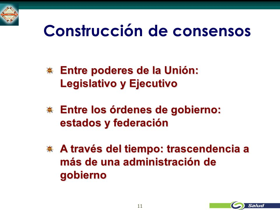 11 Construcción de consensos Entre poderes de la Unión: Legislativo y Ejecutivo Entre los órdenes de gobierno: estados y federación A través del tiempo: trascendencia a más de una administración de gobierno
