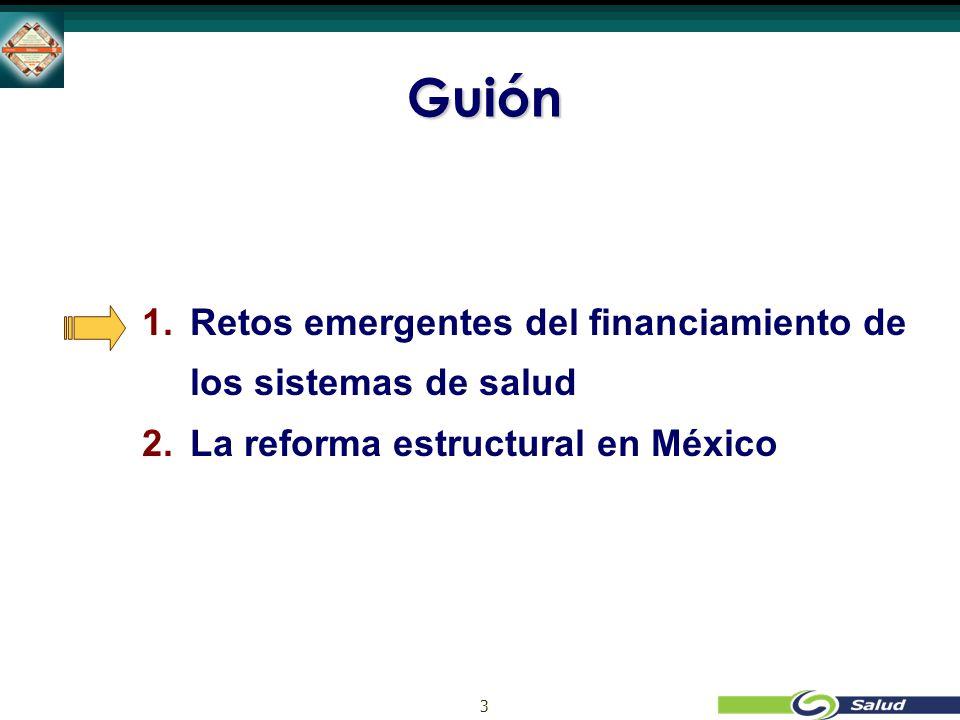 3 Guión 1. 1.Retos emergentes del financiamiento de los sistemas de salud 2.