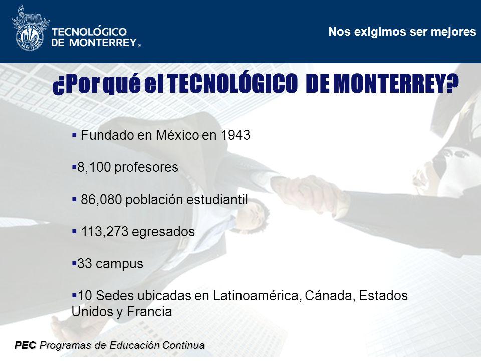 Nos exigimos ser mejores PEC Programas de Educación Continua ¿Por qué el TECNOLÓGICO DE MONTERREY.