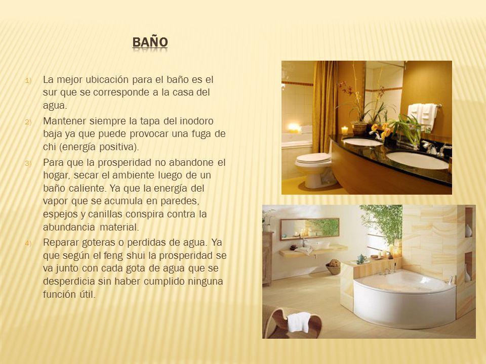 1) La mejor ubicación para el baño es el sur que se corresponde a la casa del agua.