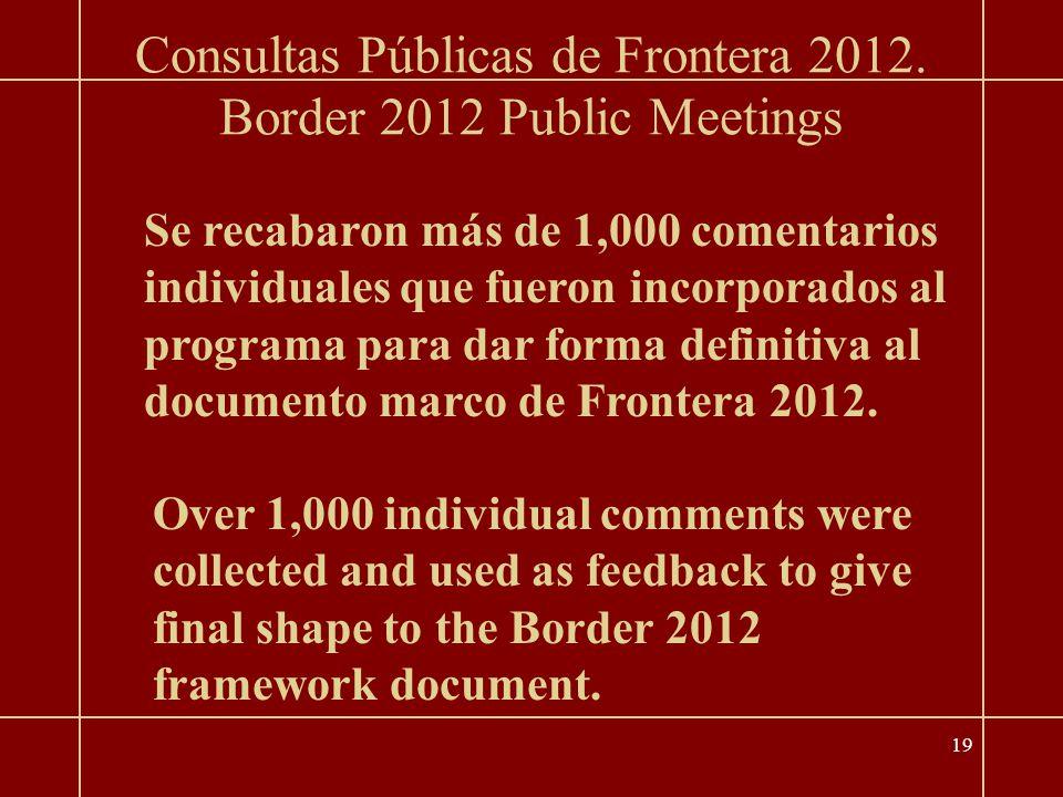 19 Border 2012 Public Meetings Consultas Públicas de Frontera 2012.