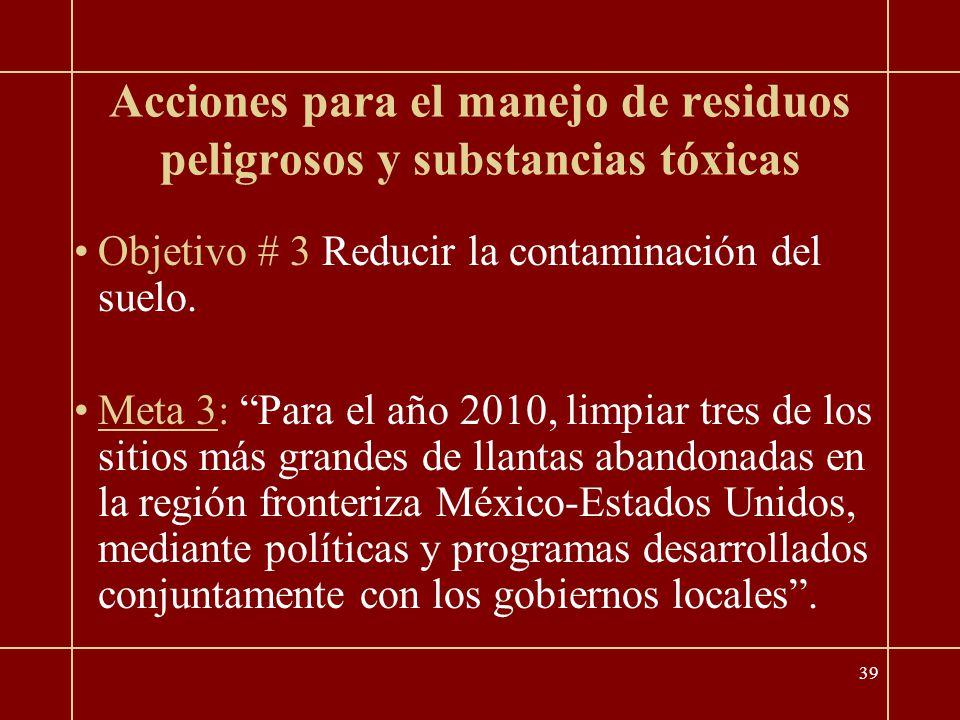 39 Acciones para el manejo de residuos peligrosos y substancias tóxicas Objetivo # 3 Reducir la contaminación del suelo.