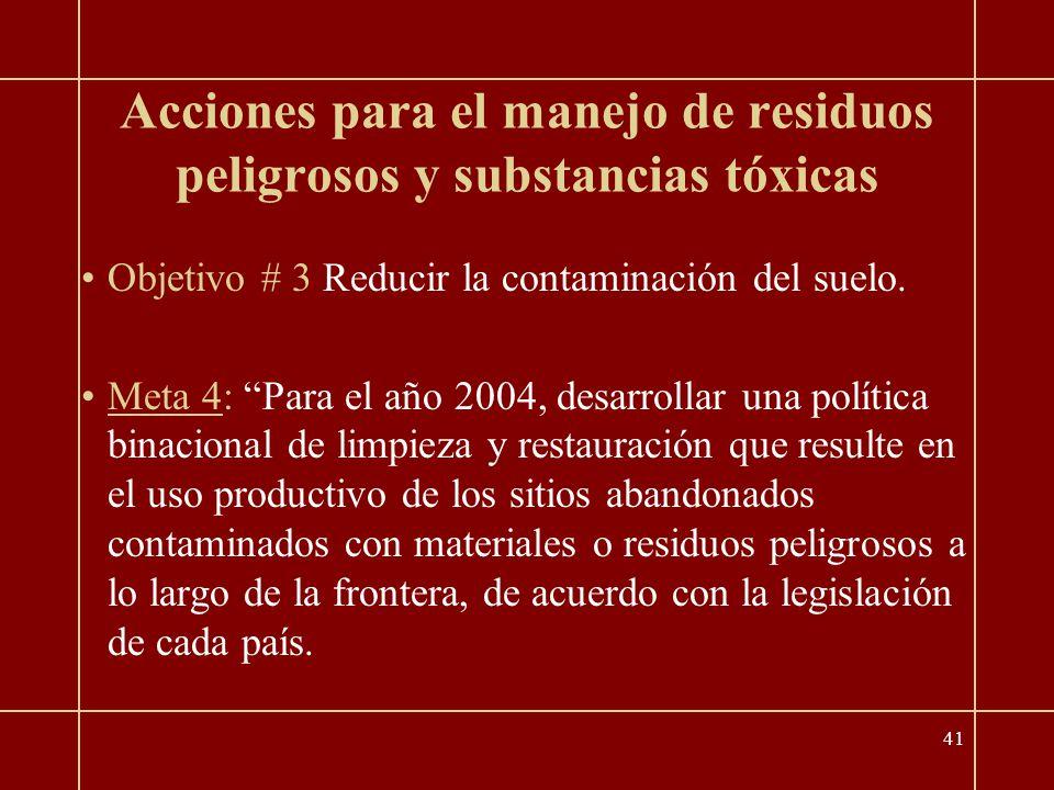 41 Acciones para el manejo de residuos peligrosos y substancias tóxicas Objetivo # 3 Reducir la contaminación del suelo.