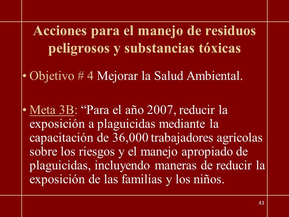 43 Acciones para el manejo de residuos peligrosos y substancias tóxicas Objetivo # 4 Mejorar la Salud Ambiental.