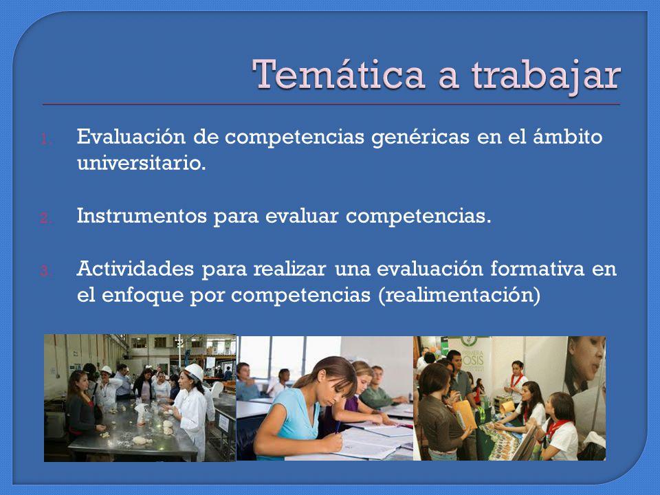 1. Evaluación de competencias genéricas en el ámbito universitario.