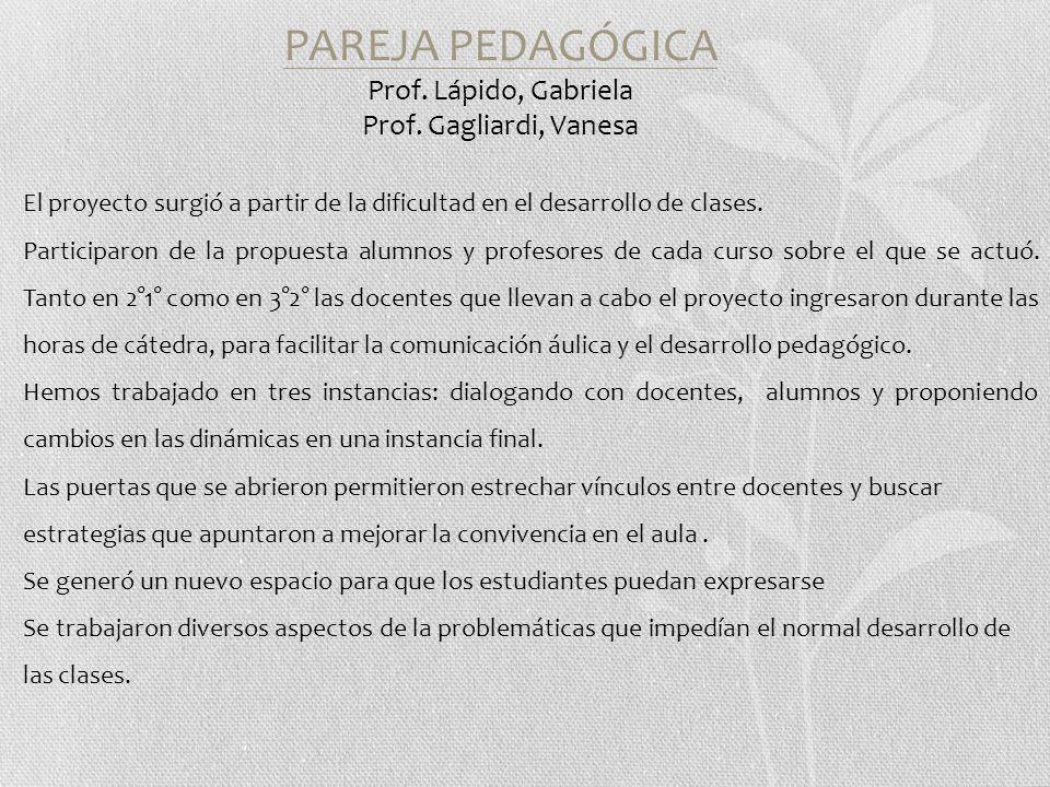 PAREJA PEDAGÓGICA Prof. Lápido, Gabriela Prof.