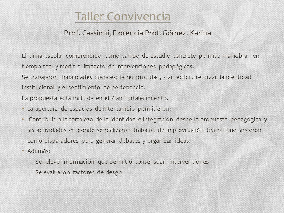 Taller Convivencia Prof. Cassinni, Florencia Prof.
