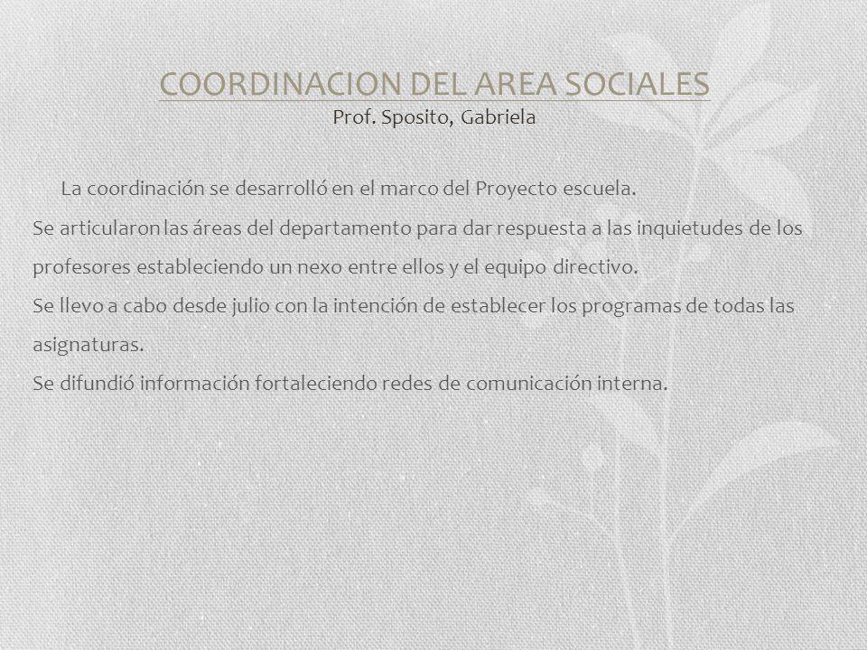 COORDINACION DEL AREA SOCIALES Prof.
