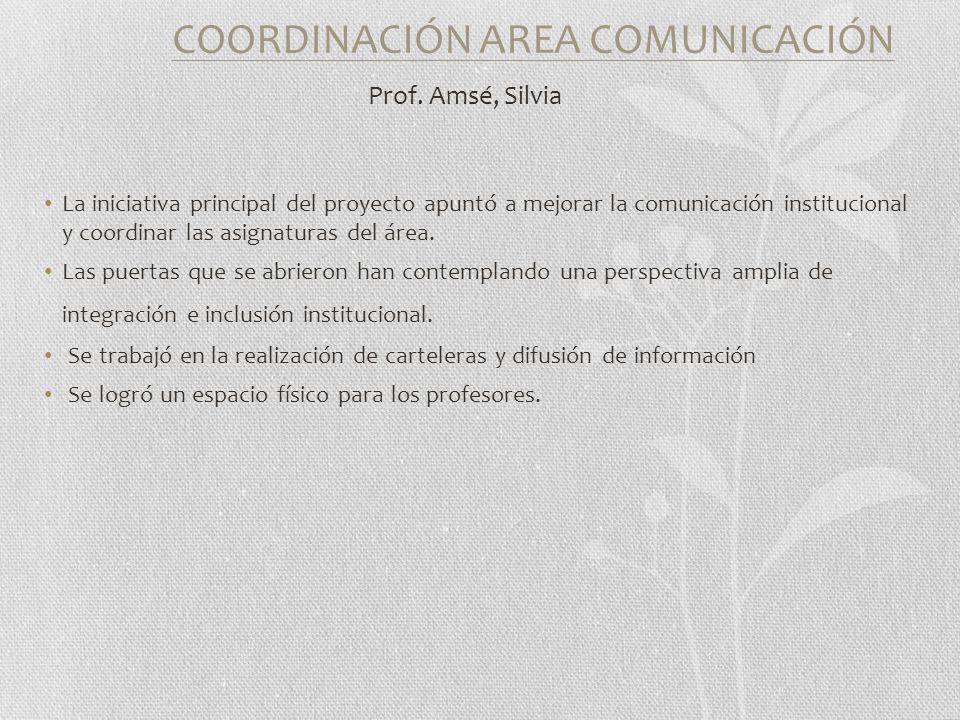 COORDINACIÓN AREA COMUNICACIÓN Prof.