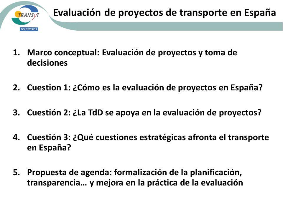 Evaluación de proyectos de transporte en España 1.Marco conceptual: Evaluación de proyectos y toma de decisiones 2.Cuestion 1: ¿Cómo es la evaluación de proyectos en España.