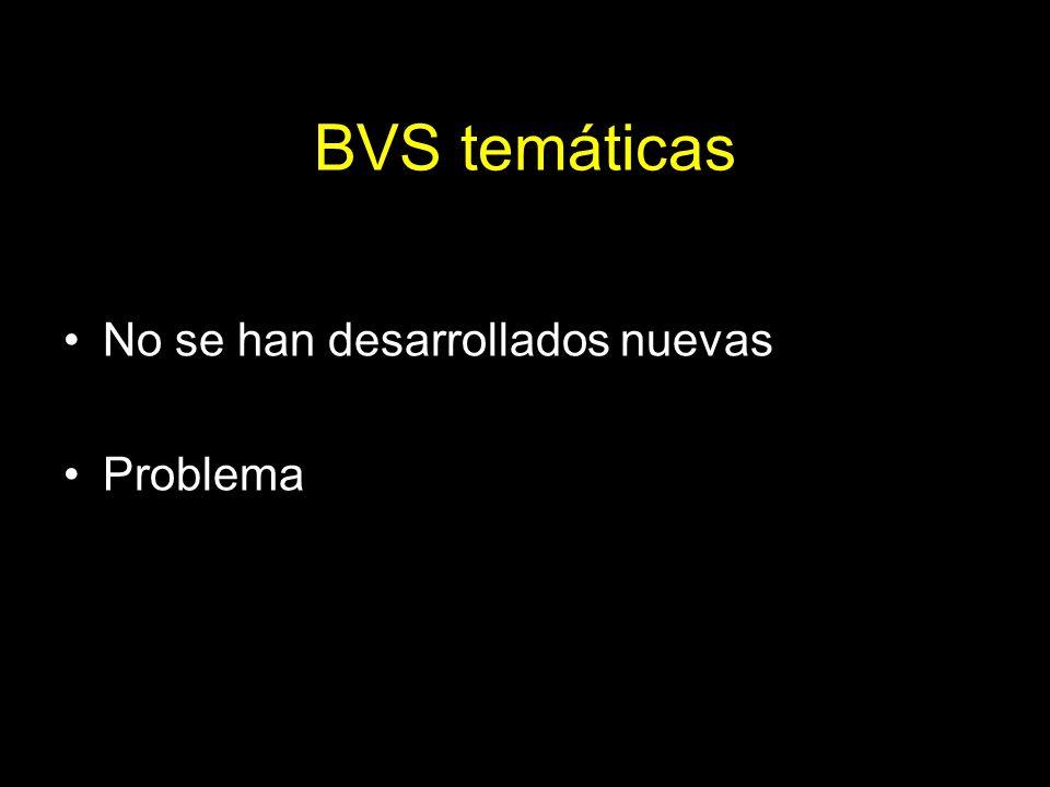 BVS temáticas No se han desarrollados nuevas Problema