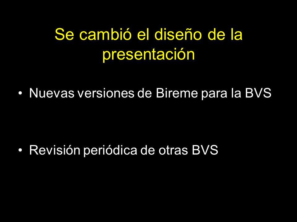 Se cambió el diseño de la presentación Nuevas versiones de Bireme para la BVS Revisión periódica de otras BVS