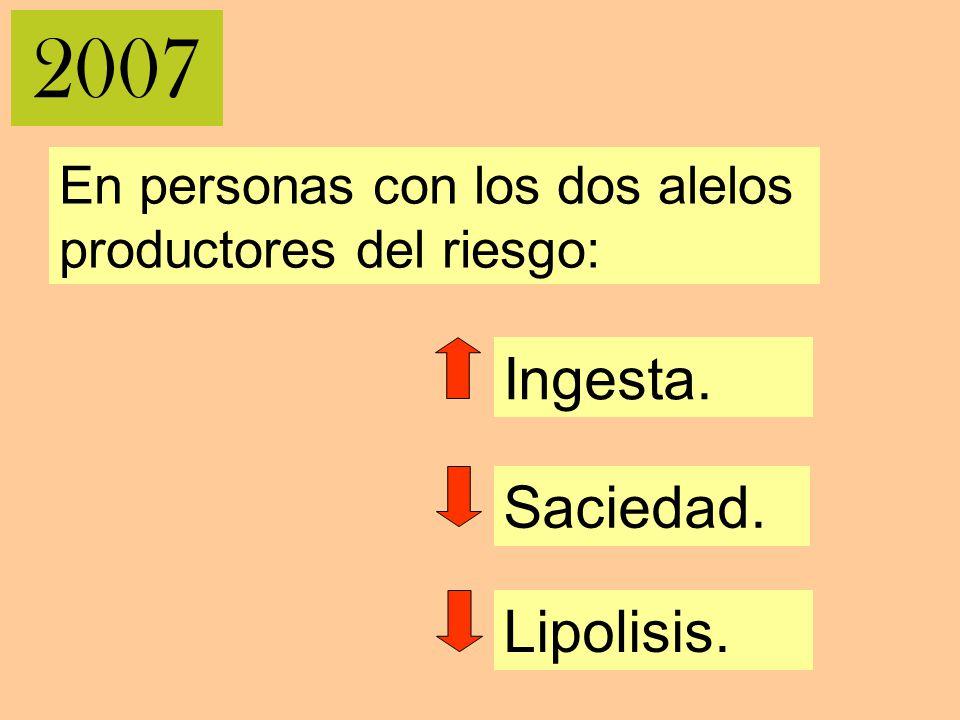 2007 Ingesta. Saciedad. Lipolisis. En personas con los dos alelos productores del riesgo: