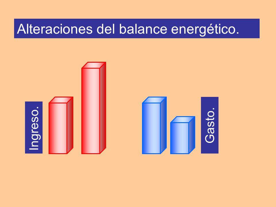Ingreso. Gasto. Alteraciones del balance energético.
