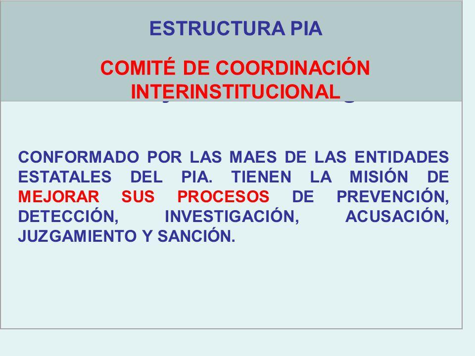Objetivos estratégicos ESTRUCTURA PIA COMITÉ DE COORDINACIÓN INTERINSTITUCIONAL CONFORMADO POR LAS MAES DE LAS ENTIDADES ESTATALES DEL PIA.