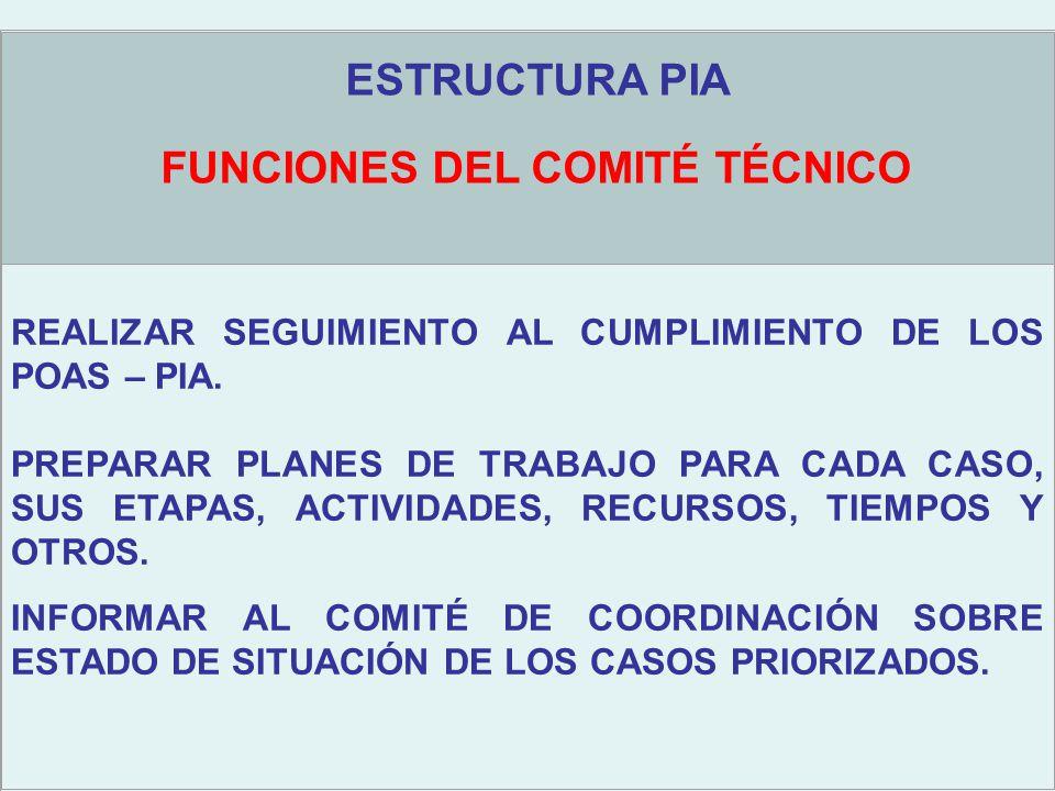 Objetivos estratégicos ESTRUCTURA PIA FUNCIONES DEL COMITÉ TÉCNICO REALIZAR SEGUIMIENTO AL CUMPLIMIENTO DE LOS POAS – PIA.