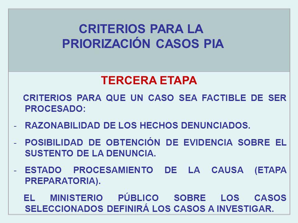 Objetivos estratégicos TERCERA ETAPA CRITERIOS PARA LA PRIORIZACIÓN CASOS PIA CRITERIOS PARA QUE UN CASO SEA FACTIBLE DE SER PROCESADO: -RAZONABILIDAD DE LOS HECHOS DENUNCIADOS.