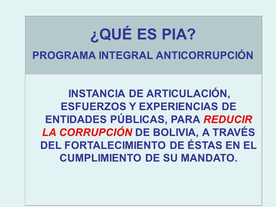 INSTANCIA DE ARTICULACIÓN, ESFUERZOS Y EXPERIENCIAS DE ENTIDADES PÚBLICAS, PARA REDUCIR LA CORRUPCIÓN DE BOLIVIA, A TRAVÉS DEL FORTALECIMIENTO DE ÉSTAS EN EL CUMPLIMIENTO DE SU MANDATO.