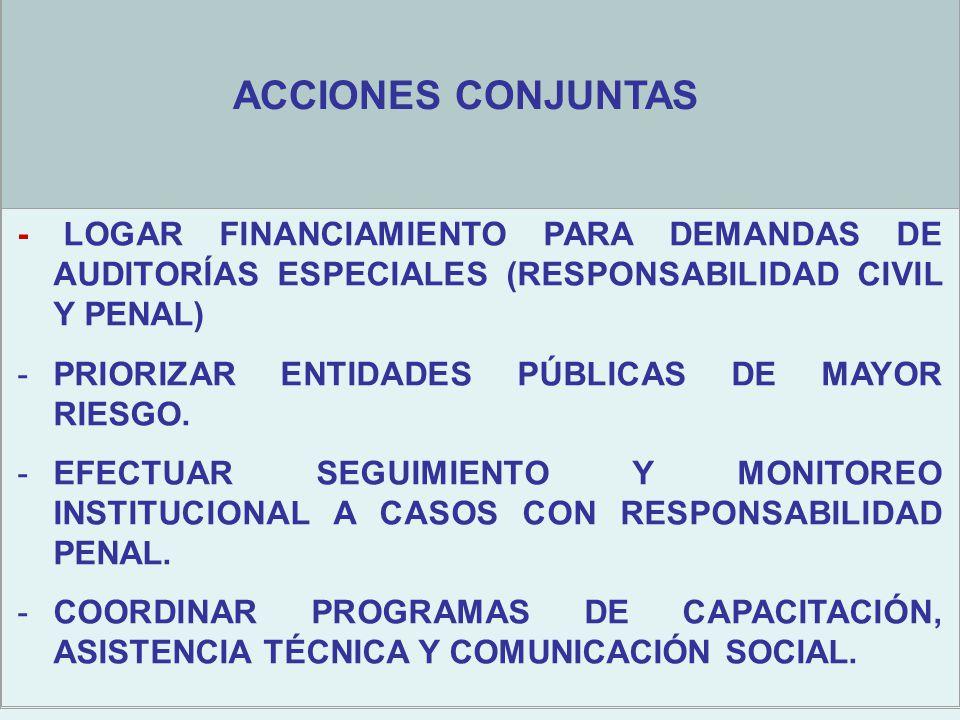 - LOGAR FINANCIAMIENTO PARA DEMANDAS DE AUDITORÍAS ESPECIALES (RESPONSABILIDAD CIVIL Y PENAL) -PRIORIZAR ENTIDADES PÚBLICAS DE MAYOR RIESGO.