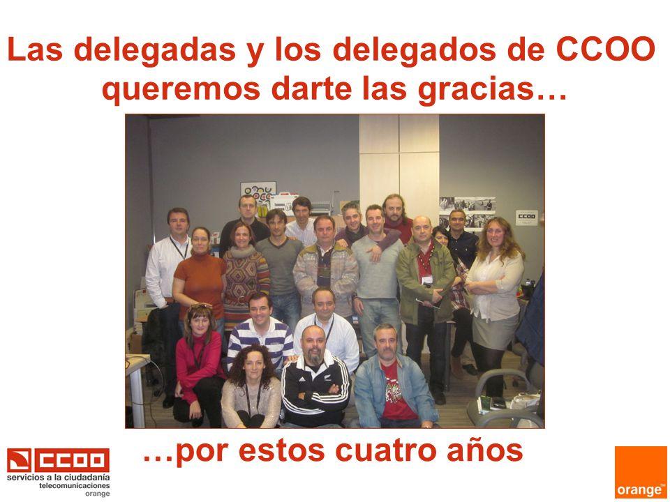 …por estos cuatro años Las delegadas y los delegados de CCOO queremos darte las gracias…