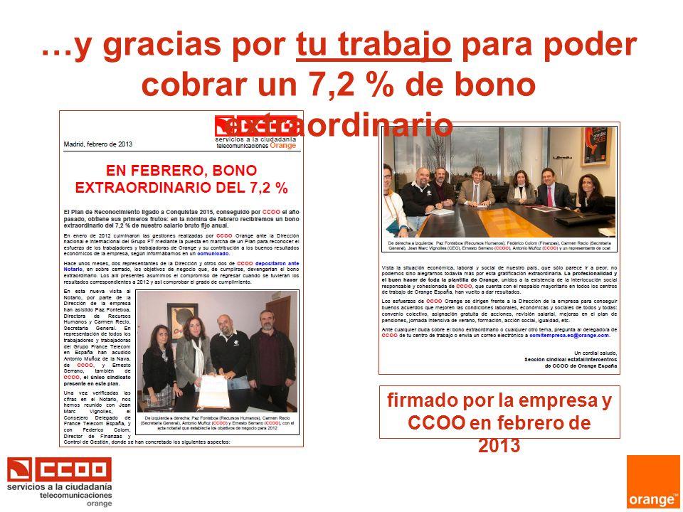 firmado por la empresa y CCOO en febrero de 2013 …y gracias por tu trabajo para poder cobrar un 7,2 % de bono extraordinario