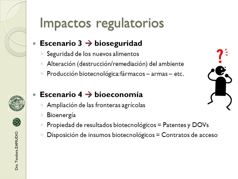 Impactos regulatorios  Escenario 3  bioseguridad ◦ Seguridad de los nuevos alimentos ◦ Alteración (destrucción/remediación) del ambiente ◦ Producción biotecnológica: fármacos – armas – etc.