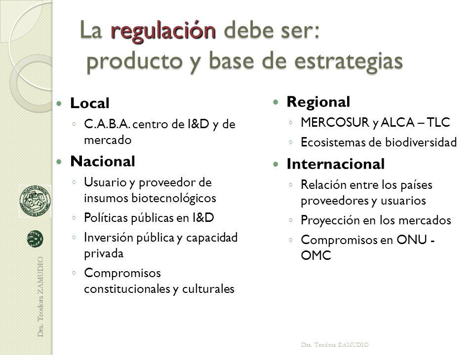 La regulación debe ser: producto y base de estrategias Local ◦ C.A.B.A.