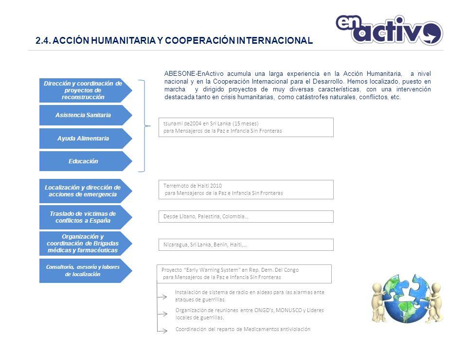 ABESONE-EnActivo acumula una larga experiencia en la Acción Humanitaria, a nivel nacional y en la Cooperación Internacional para el Desarrollo.