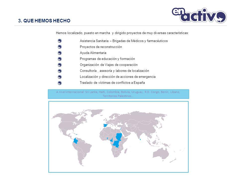 Hemos localizado, puesto en marcha y dirigido proyectos de muy diversas características: Asistencia Sanitaria – Brigadas de Médicos y farmacéuticos Proyectos de reconstrucción Ayuda Alimentaria Programas de educación y formación Organización de Viajes de cooperación Consultoría, asesoría y labores de localización Localización y dirección de acciones de emergencia Traslado de víctimas de conflictos a España 3.
