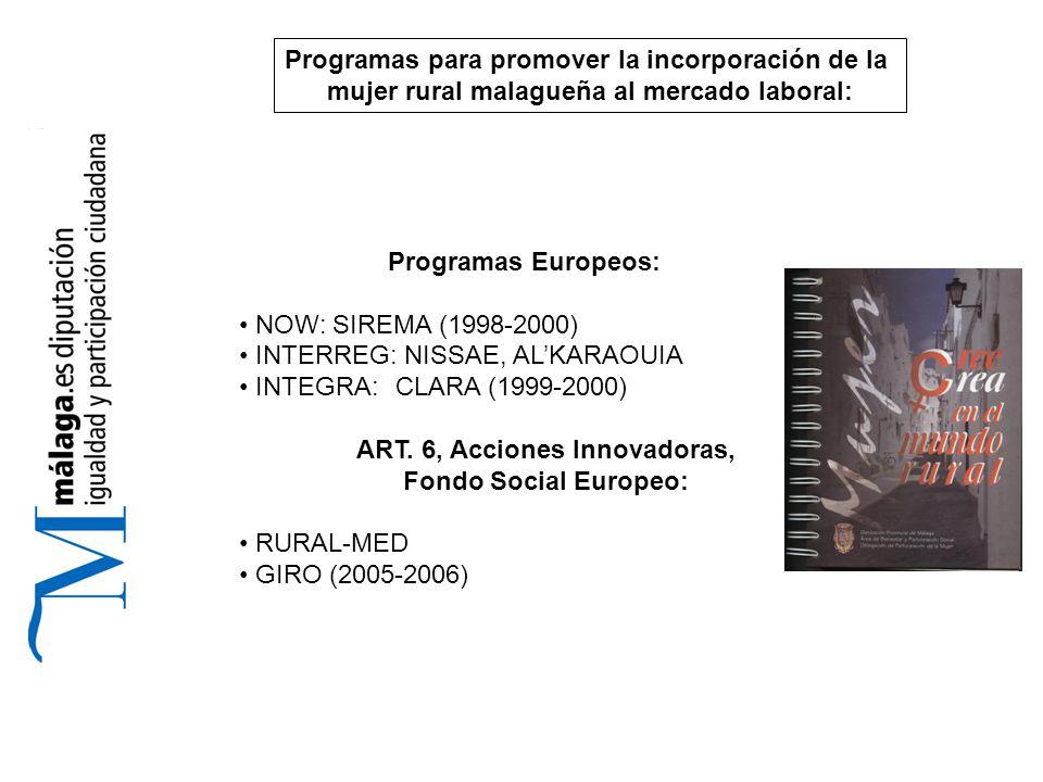 Programas Europeos: NOW: SIREMA (1998-2000) INTERREG: NISSAE, AL'KARAOUIA INTEGRA: CLARA (1999-2000) ART.