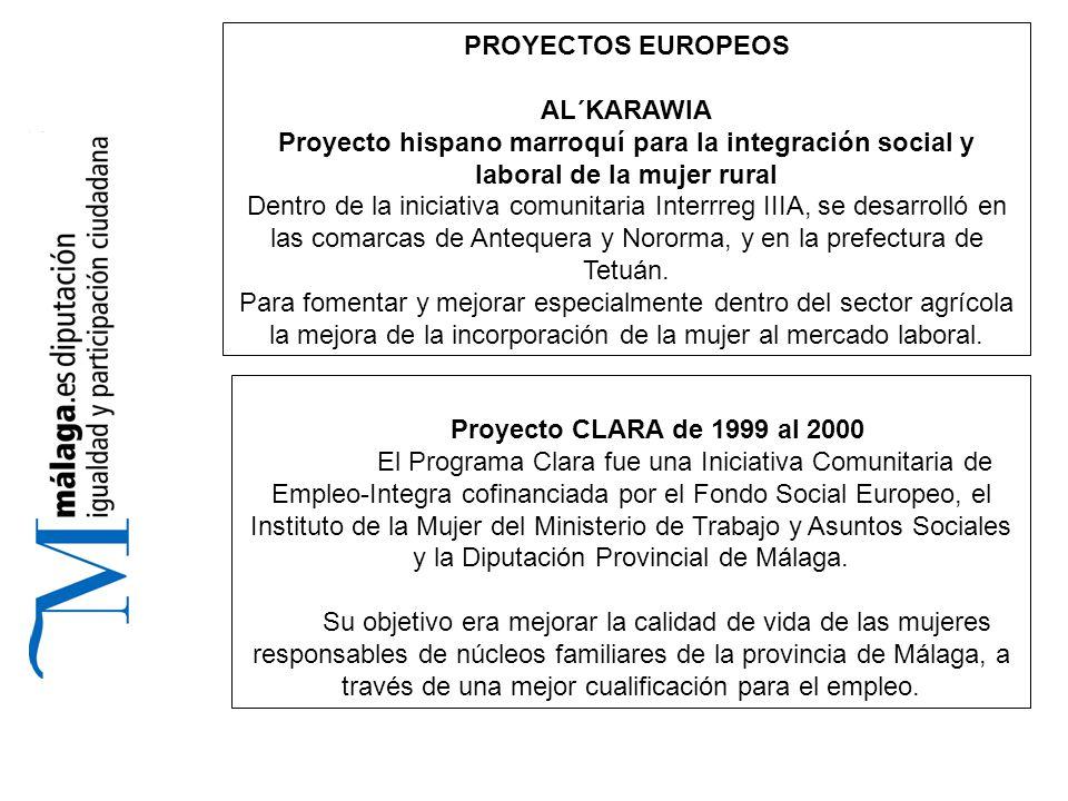 PROYECTOS EUROPEOS AL´KARAWIA Proyecto hispano marroquí para la integración social y laboral de la mujer rural Dentro de la iniciativa comunitaria Interrreg IIIA, se desarrolló en las comarcas de Antequera y Nororma, y en la prefectura de Tetuán.
