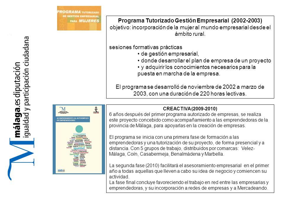 Programa Tutorizado Gestión Empresarial (2002-2003) objetivo: incorporación de la mujer al mundo empresarial desde el ámbito rural.