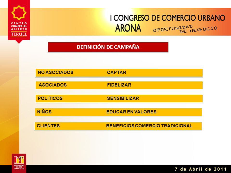 DEFINICIÓN DE CAMPAÑA ASOCIADOSFIDELIZAR NO ASOCIADOSCAPTAR POLITICOSSENSIBILIZAR NIÑOSEDUCAR EN VALORES CLIENTESBENEFICIOS COMERCIO TRADICIONAL