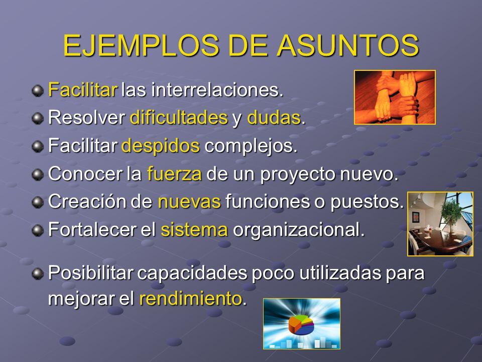 EJEMPLOS DE ASUNTOS Facilitar las interrelaciones.