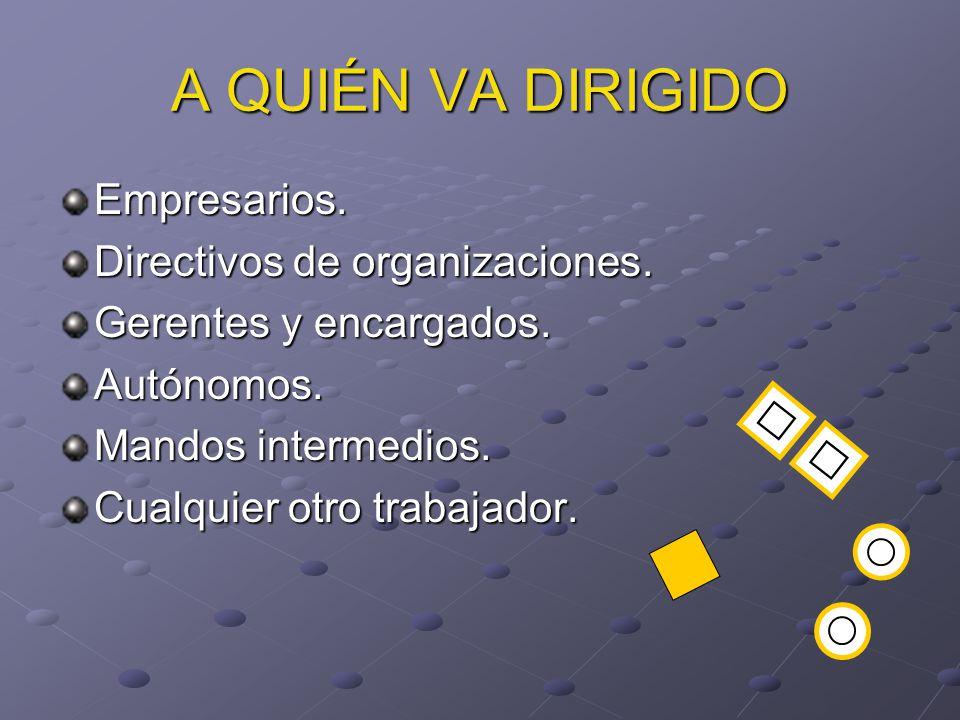 A QUIÉN VA DIRIGIDO Empresarios. Directivos de organizaciones.